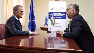 Donald Tusk és Orbán Viktor találkozója 2019-ben
