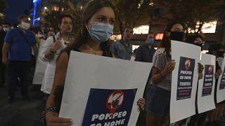 جانب من المظاهرات الرافضة لزيارة بومبيو لليونان، 28 سبتمبر 2020
