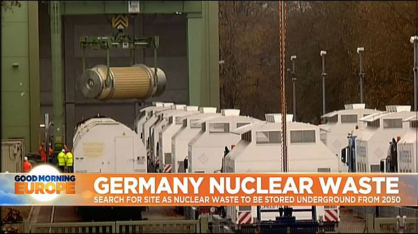 Nuclear waste being moved by trucks in Germany
