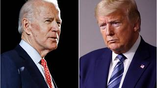 In this combination of file photos, former Vice President Joe Biden, left, and President Donald Trump