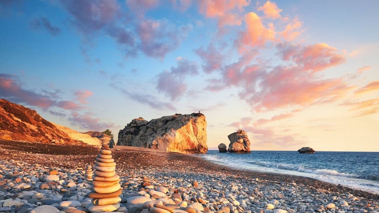 Sunset near Petra Tou Romiou, Cyprus