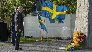 Sweden's King Carl VXI Gustaf pictured in 2014 at a memorial to the MS Estonia disaster. 501 Swedes were among those who drowned when the ship sank in 1994