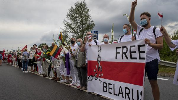 Lithuanians form a human chain in August 2020 in solidarity with Belarussians opposed to Alexander Lukashenko
