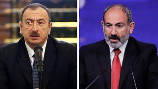 نیکول پاشینیان، نخست وزیر ارمنستان و الهام علیاف، رئیس جمهوری آذربایجان