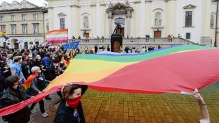LGBT rights activists demonstrate in Poland