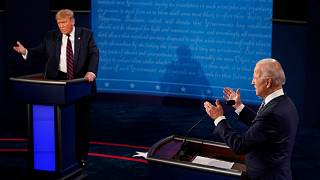 President Donald Trump and Democratic presidential candidate former Vice President Joe Biden exchange points at first presidential debate. September 29, 2020. Cleveland, Ohio.