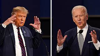 President Donald Trump and Democratic presidential candidate former-Vice President Joe Biden participate in the first presidential debate. Sept. 29, 2020. Cleveland, USA.