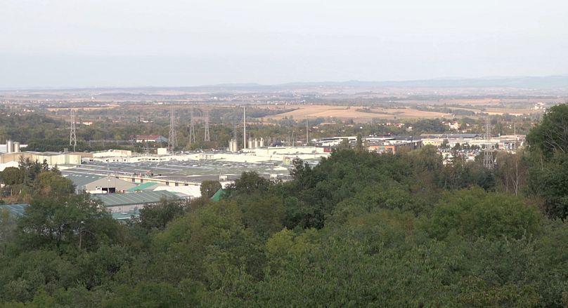 L'usine de la Société des eaux de Volvic.