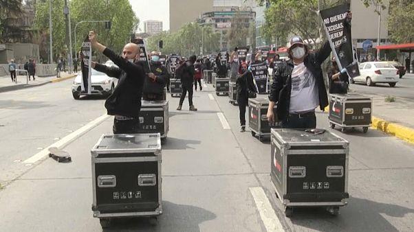 Manifestación del gremio del espectáculo en Santiago de Chile