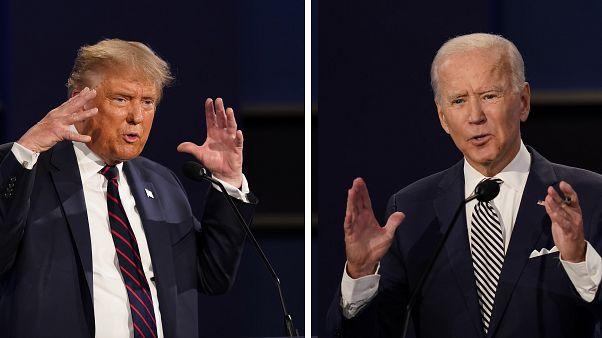 الرئيس الأمريكي دونالد ترامب والمرشح الديموقراطي جو بايدن خلال مناظرة تلفزيونية