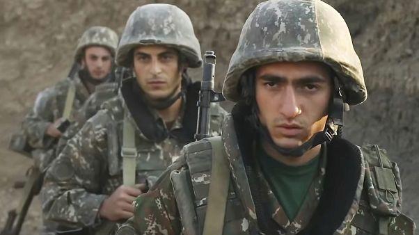 Un gruppo di militari armeni nel Nagorno-Karabakh, Azerbaigian, 29 settembre 2020