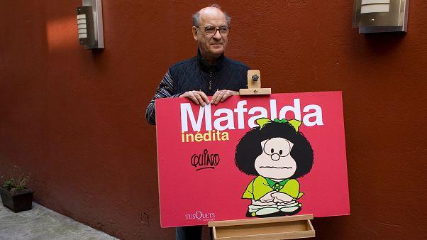 Le dessinateur argentin Quino, Joaquin Salvador Lavado de son vrai nom, père de Mafalda, le 26 novembre 2008