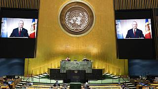 In this photo provided by the United Nations, President of the Republic of Moldova, Igor Dodon's pre-recorded message is played during the 75th session of the UN