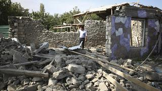 An apartment building seen on Wednesday with damage allegedly caused by shelling in fighting over Nagorno-Karabakh