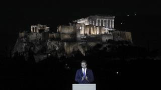 Greece's Prime Minister Kyriakos Mitsotakis speaks during a ceremony for the new lighting system of Acropolis in Athens