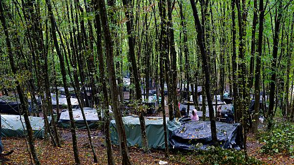 Migrants stand around improvised tents in a makeshift camp in the woods outside Velika Kladusa, Bosnia, Sept. 26, 2020.