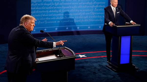 President Donald Trump (L) and Democratic presidential candidate former Vice President Joe Biden during the first presidential debate on Sept. 29, 2020