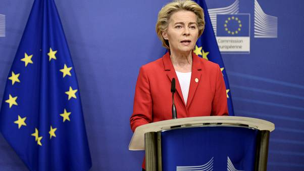 European Commission President Ursula von der Leyen makes a statement regarding teh Withdrawl Agreement at EU headquarters in Brussels, Oct. 1, 2020.