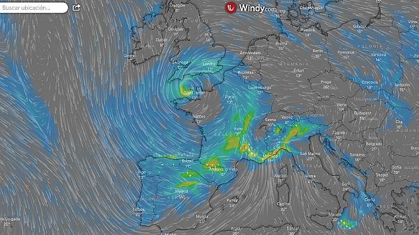 Previsión de viento y lluvia para el viernes por la mañana