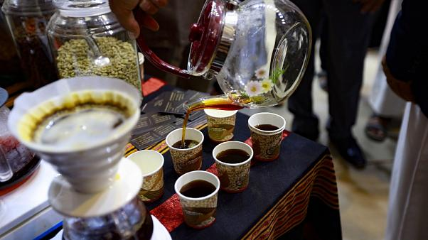 A variety of coffee is served during an event organised for International Coffee Day in Yemen's capital Sanaa