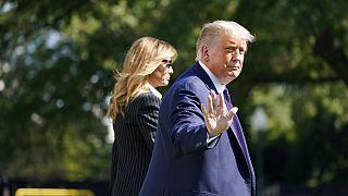 Donald e Melania Trump, esta terça-feira, na Casa Branca, antes de partirem para Cleveland