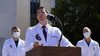 Dr. Sean Conley, physician to President Donald Trump, briefs reporters at Walter Reed National Military Medical Center in Bethesda, Md., Saturday, Oct. 3, 2020.
