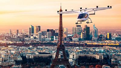 One of the aircrafts of German eVTOL Startup Volocopter flying over Paris