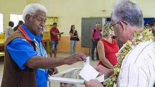 Roch Wamytan, a former leader of the pro-independence party, Union Caledonienne, casts his vote during an independence referendum in 2018.