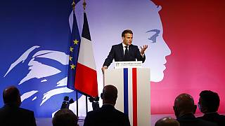 French President Emmanuel Macron delivers a speech to present his strategy to fight separatism, Friday Oct. 2, 2020