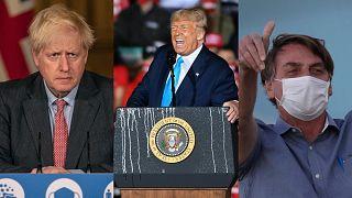 Boris Johnson, left, is the UK prime minister; Donald Trump, centre, is the US president; Jair Bolsonaro, right, is Brazil's president.