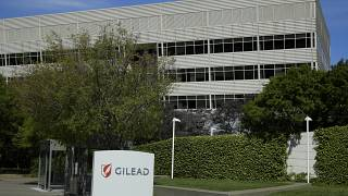 FILE - This April 30, 2020, file photo shows Gilead Sciences headquarters in Foster City, Calif.