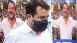 Former Interior Minister and Leader of League Party Matteo Salvini attends a party rally in San Giovanni La Punta, near Catania, Sicily, Oct. 1, 2020.