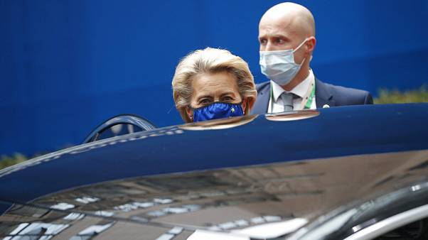 European Commission President Ursula von der Leyen leaves at the end of an EU summit in Brussels, Friday, Oct. 2, 2020.