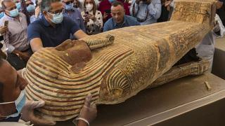 In major archaeological discovery, Egypt shows off dozens of ancient coffins