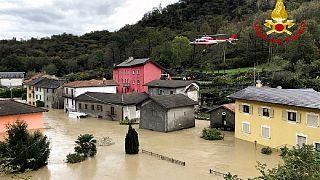 """Uma das zonas afetadas pela tempestade """"Alex"""" na região do Piemonte, Itália"""