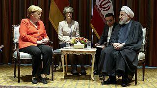دیدار آنگلا مرکل، صدراعظم آلمان و حسن روحانی، رئیس جمهوری ایران در حاشیه نشست مجمع عمومی سازمان ملل، سال ۲۰۱۹