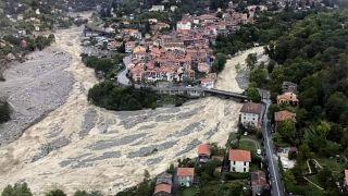 Vue aérienne du village de Saint-Martin-Vésubie (Alpes-Maritime, France), le 04/10/2020