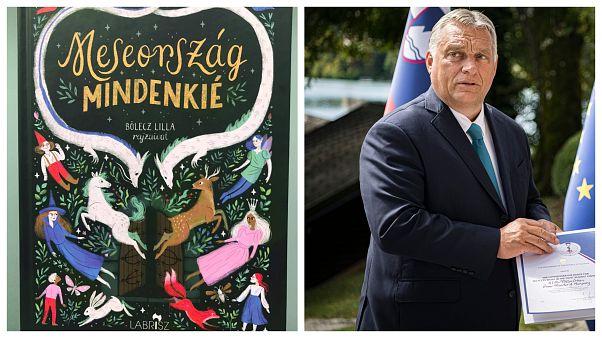 A Meseország mindenkié borítója a bal oldalon, Orbán Viktor magyar miniszterelnök Bledben a jobb oldalon