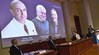 Les noms des trois lauréats du Nobel 2020 de médecine après avoir été révélés à l'Institut Karolinska de Stockholm, le 5 octobre 2020