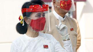 Aung San Suu Kyi lors du lancement de la campagne électorale, le 8 septembre 2020, Naypyitaw, Myanmar.