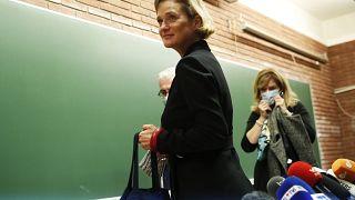 Delphine Boël bei einer Pressekonferenz in Brüssel