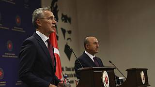 Le secrétaire général de l'Otan et le chef de la diplomatie turque