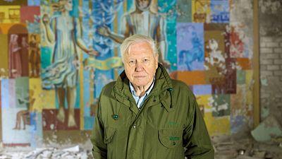 David Attenborough in Chernobyl, where the documentary begins.
