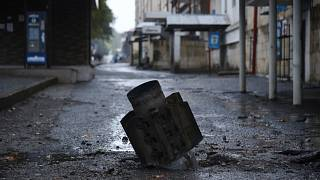 An unexploded projectile in a residential area in Nagorno-Karabakh, Oct 5, 2020.