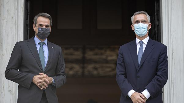 Greece's Prime Minister Kyriakos Mitsotakis and NATO Secretary General Jens Stoltenberg