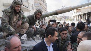 Präsident Assad auf Truppenbesuch in Ost-Ghouta, 2018. Das Gebiet ist wieder unter Regierungskontrolle.