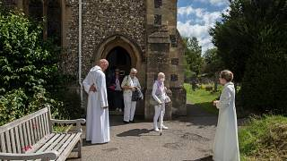 An Anglican service at St. Mary's Church, Northchurch in Berkhamsted, England, on Sunday, July 5, 2020.