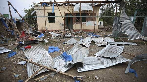 A house damaged by shelling during fighting over the region of Nagorno-Karabakh in Terter, Azerbaijan. Oct. 3, 2020.