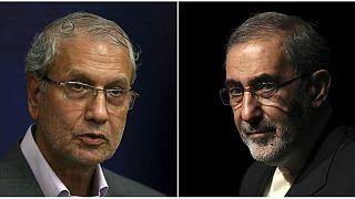 علی اکبر ولایتی، مشاور بینالملل رهبر ایران(راست) و علی ربیعی، سخنگوی دولت ایران(چپ)