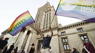 LGBT rights supporters protest in Warsaw, Poland, Saturday, August 8, 2020.